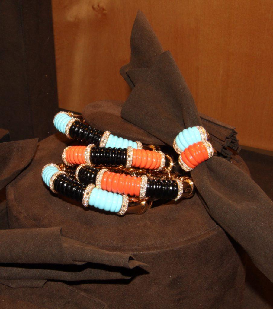 Coral, turquoise, onyx diamonds bangles, Verdi Gioielli