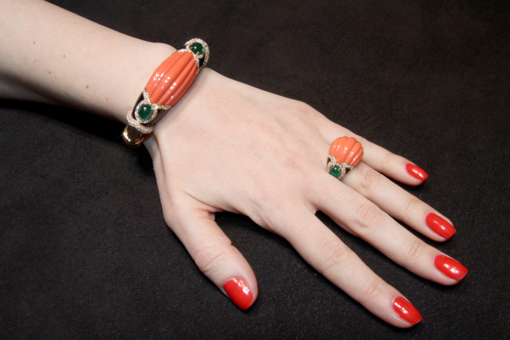 Bangle and ring with carved coral, emeralds, onyx, diamonds, Verdi Gioielli
