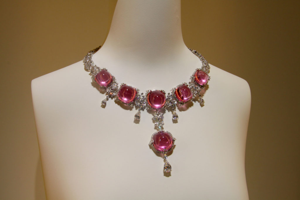 Necklace featuring tourmaline cabochons with diamonds, Giampiero Bodino