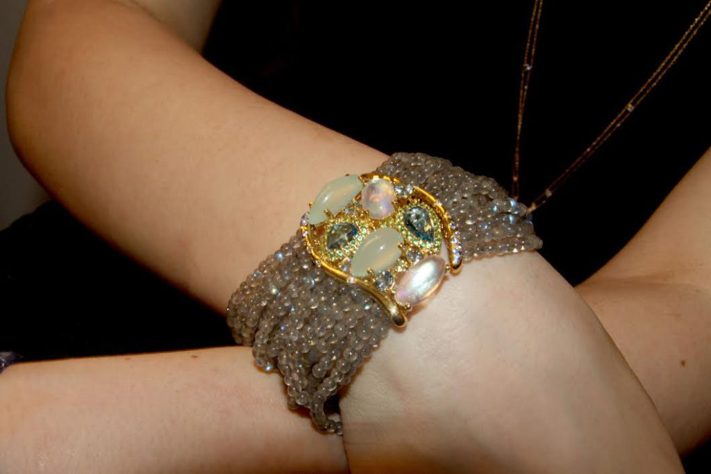 Riviera bracelet set with labradorite beads, topazes, tsavorites, sapphires, diamonds, white labradorites in yellow gold, Isabelle Langlois