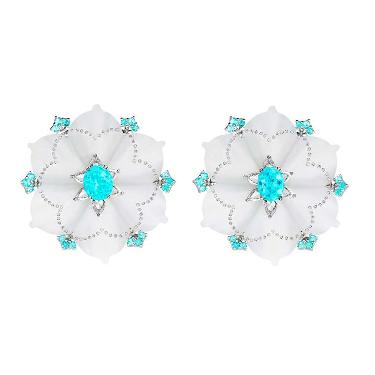 Paraiba tourmaline and nephrite earrings, Boghossian Jewels
