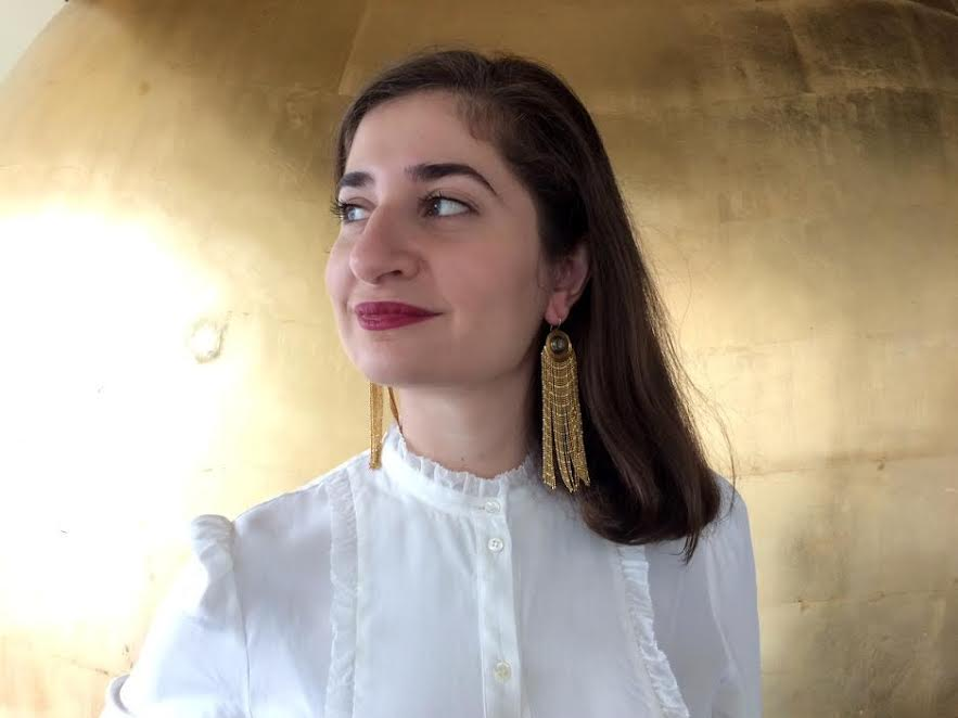 Coins earrings made of golden chains and coin, Lucia Odescalchi