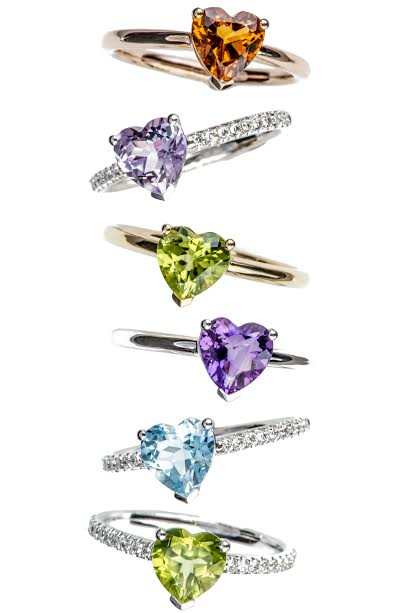 Happy Hearts rings in white and pink gold with citrine, topaz, amethyst, peridot, diamonds, Vanessa Martinelli