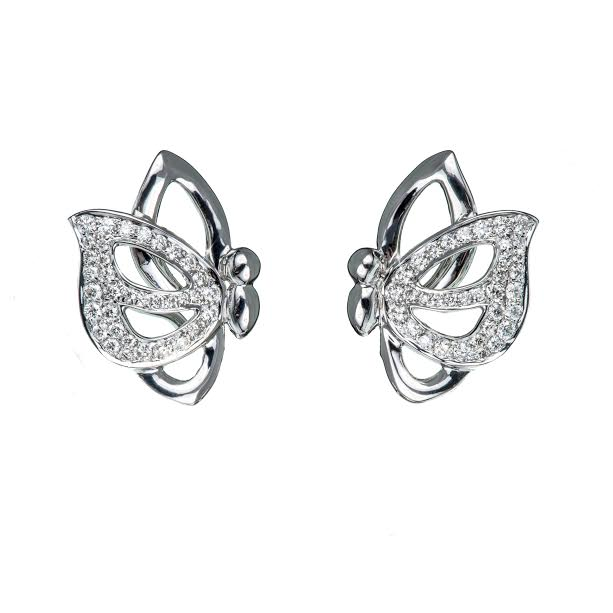 Vola Via stud earrings in white gold with diamonds, Vanessa Martinelli