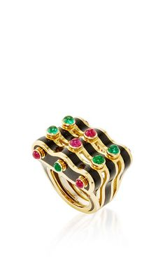 Wave ring with emerald and ruby cabochons, enamel mounted on gold, David Webb