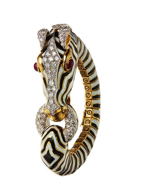 Zebra bracelet in gold with enamel, diamonds, rubies, David Webb
