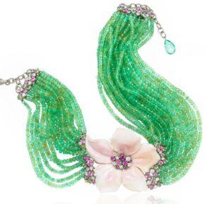 Fiorina choker with emerald beads, carved opal, rubies, diamonds, Scavia