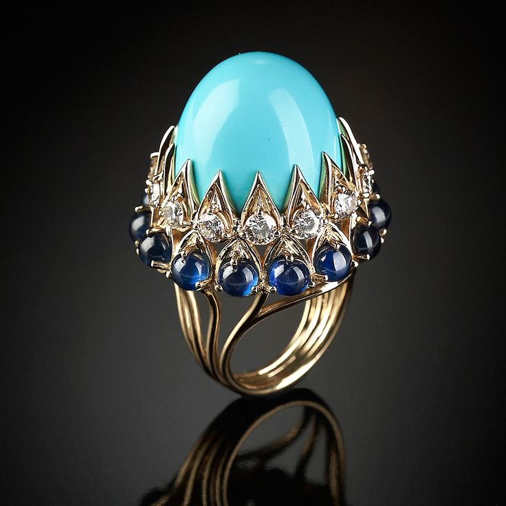 Imperial ring with Persian turquoise cabochon, sapphires, diamonds, mounted on gold, Veschetti