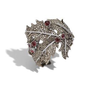 Leaf bracelet cuff featuring brown diamonds, ruby cabochons on white gold, Busatti Milano