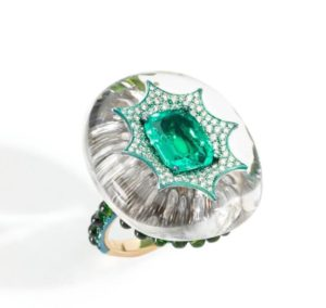 Rock crystal, emerald ring mounted on titanium, paved by diamonds, the shank is embellished with tsavorite cabochons, Busatti Milano