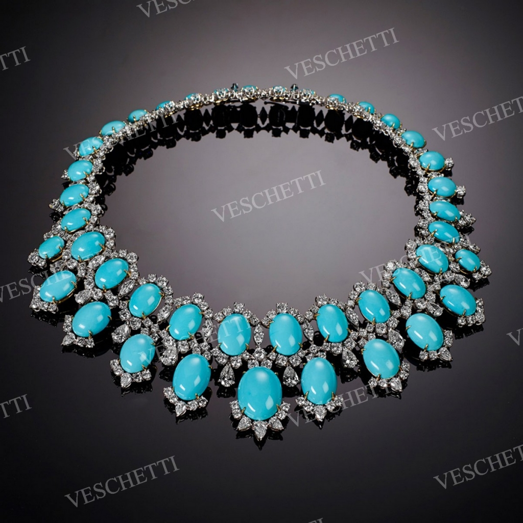 Nadira necklace with Persian turquoise cabochons with diamonds, Veschetti