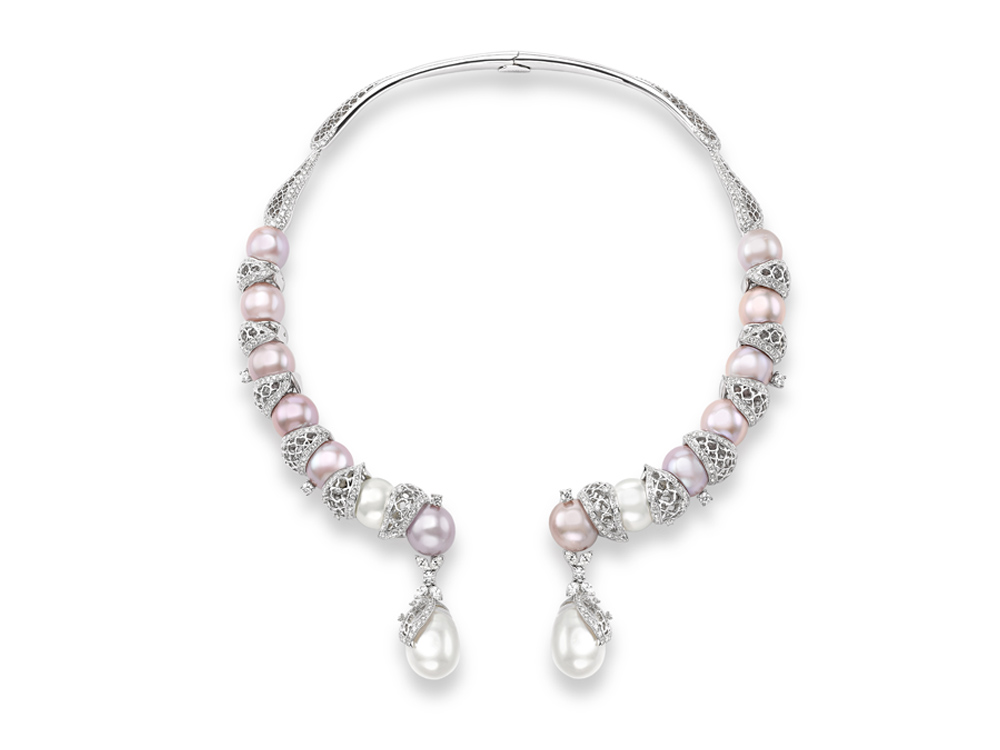 Lotus necklace in white gold with South Sea and cultured pearls, marquise cut diamonds, Sarah Ho London