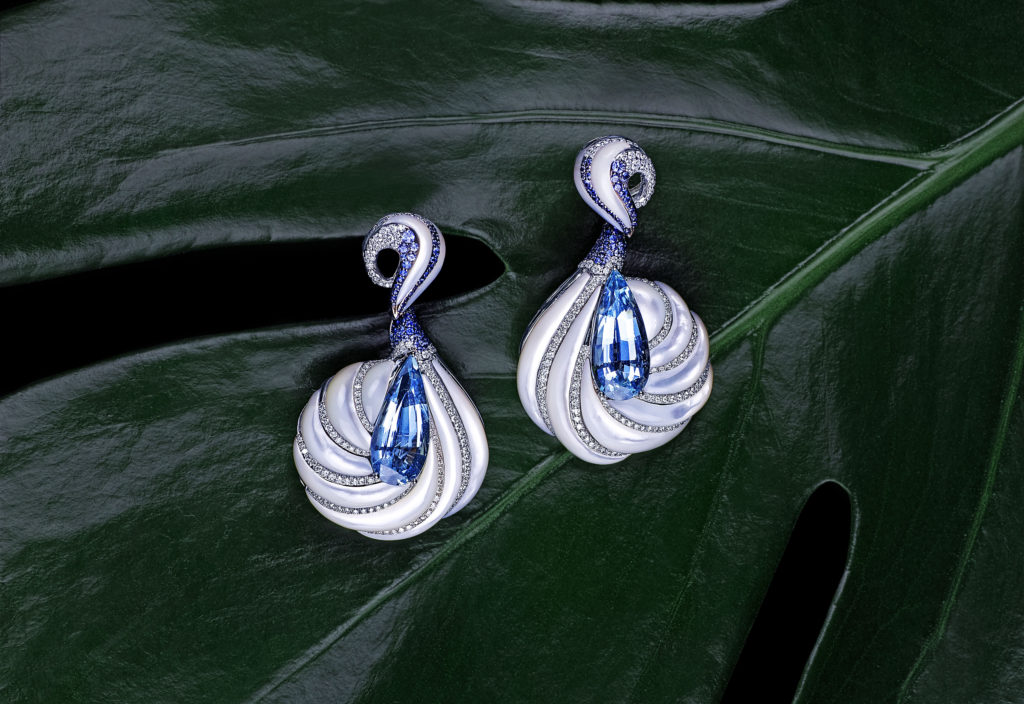 """The Alhambra Earrings"" made of white gold with aquamarine, pearly shell, blue sapphires, white diamonds, Feng J."
