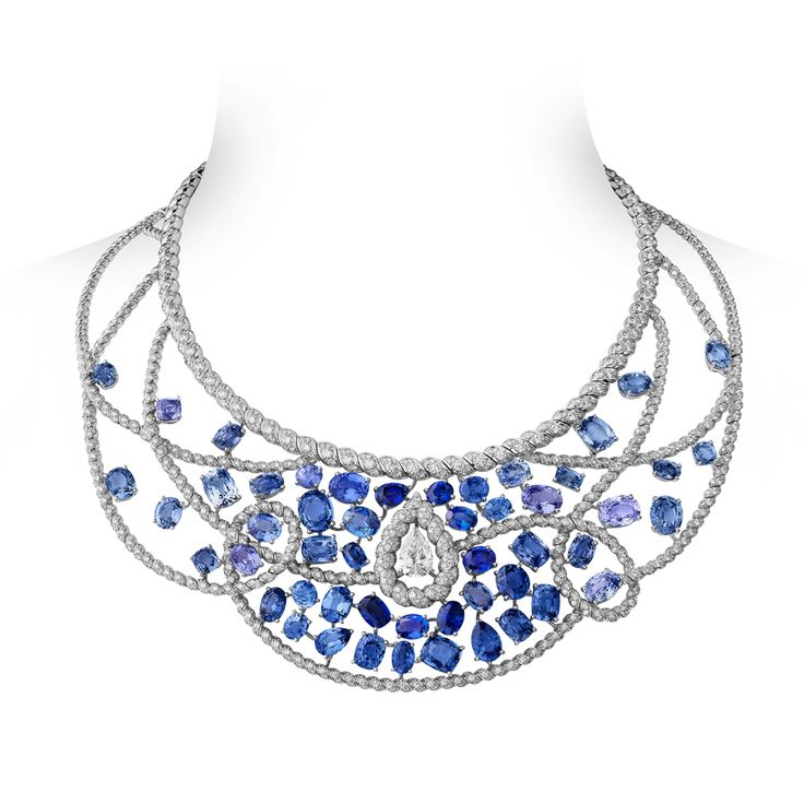 Turquoise Waters necklace made of white gold with sapphires, diamonds, Chanel Joaillerie