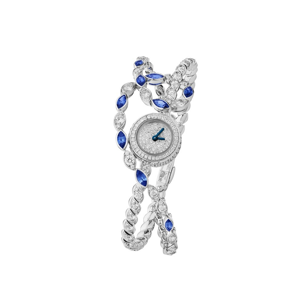 Sapphire Stripes watch made of white gold with marquise cut blue sapphires, diamonds, Chanel Joaillerie
