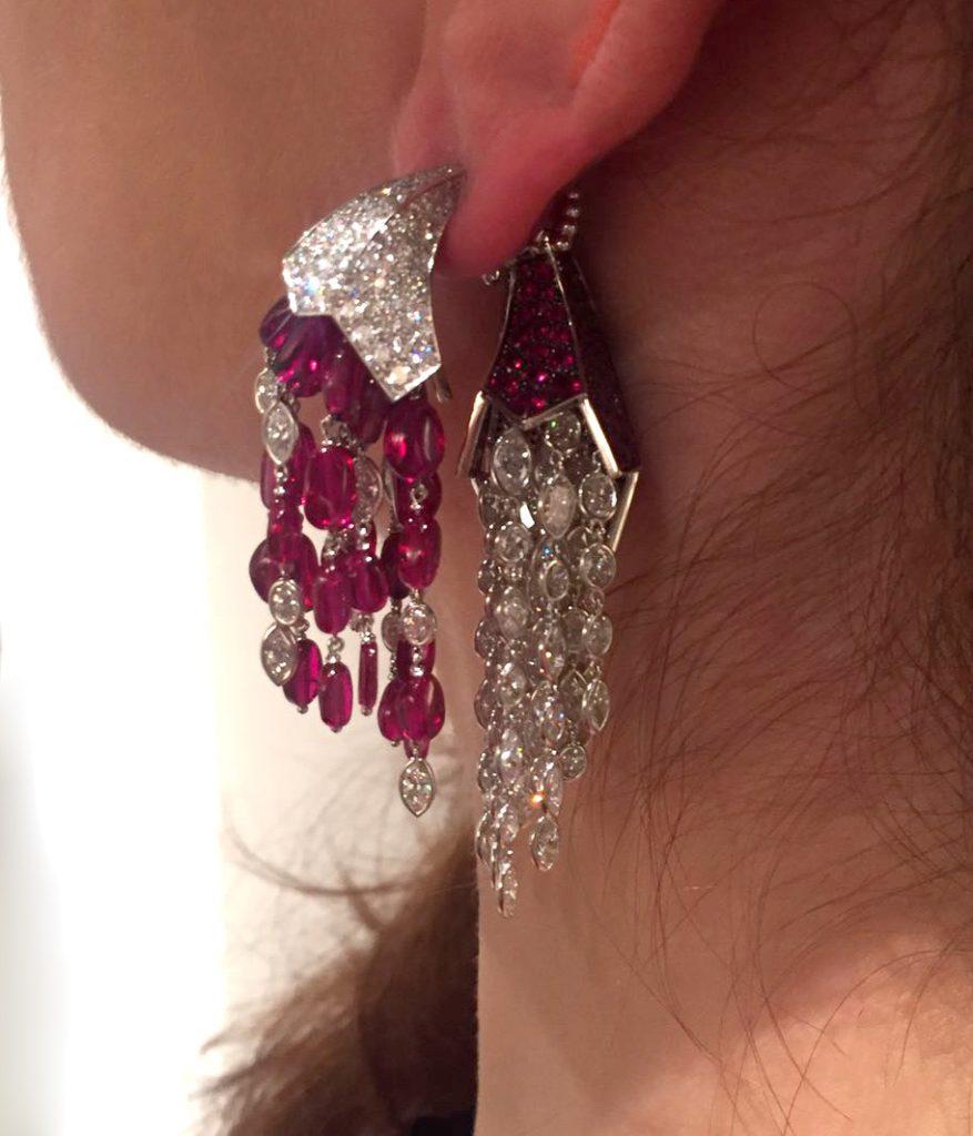 Corne d'abondance earrings in white gold with rubies, diamonds, Reza