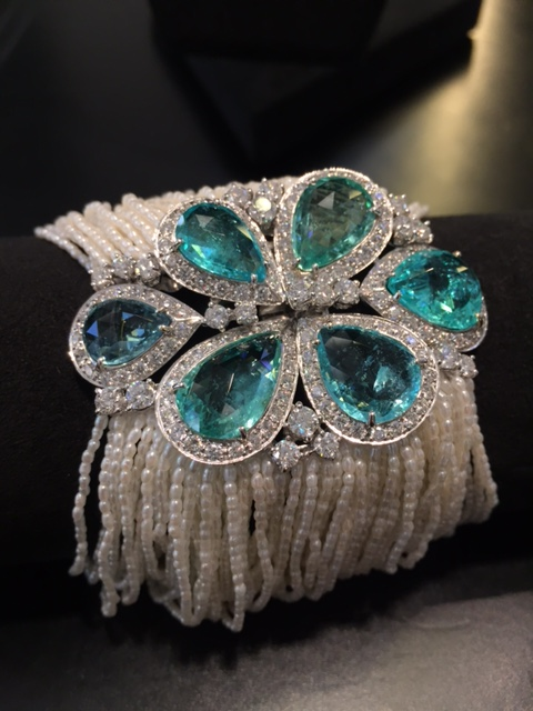 Paraiba tourmalines and seed pearls bracelet, Scavia