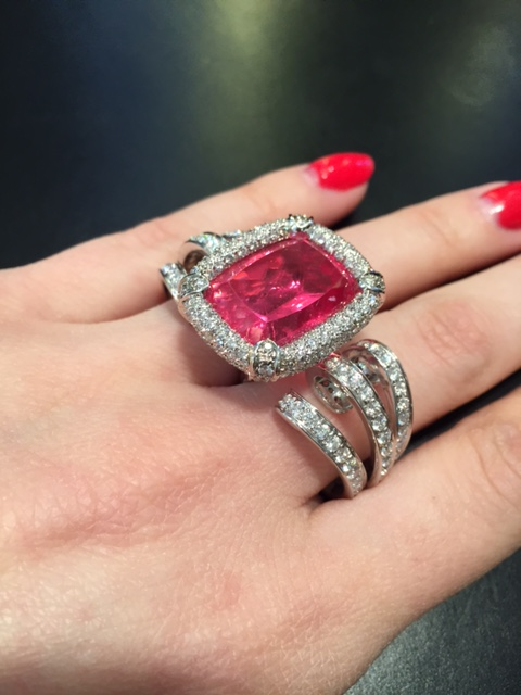 Two finger rhodochrosite ring, Scavia